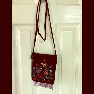 Black Embroidered w/Braided Strap w/hanging beads
